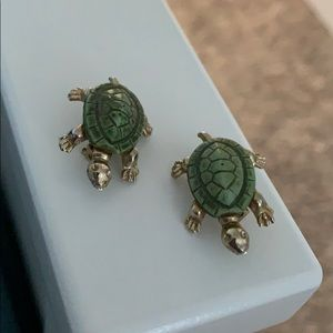 Two Itsy Bitsy Turtle Brooches Gold Toned